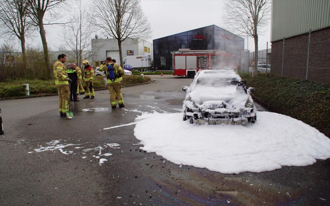 Brand in auto, paarden snel uit trailer gered