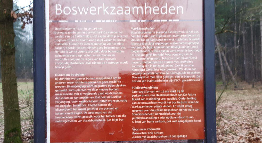 Boswerkzaamheden door Staatsbosbeheer rondom ruiterpaden in de Kempen